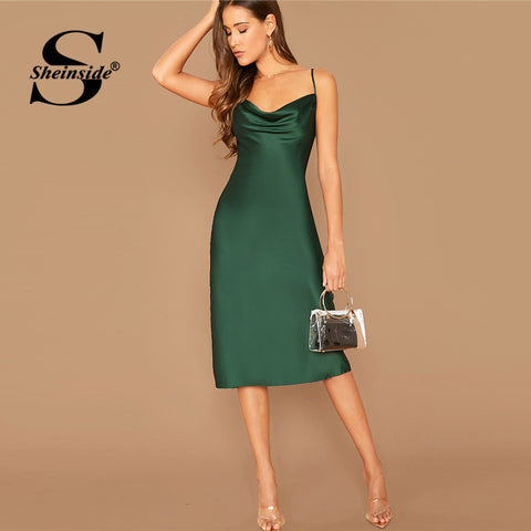 Green Elegant Satin Sleeveless A Line Solid Minimalist Party Dresses