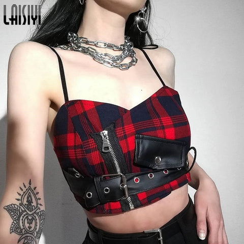Sexy Straps Gothic Red Plaid Sashes Belt Zipper Casual Crop Tops