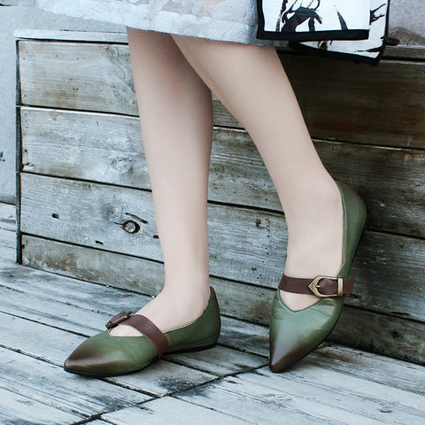 casual national style buckle pointed Flat shoes