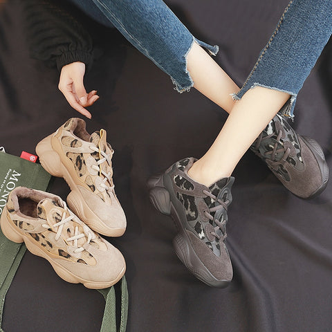 Leopard Print Thick Bottom Fashion Short Plush Lace Casual Shoes