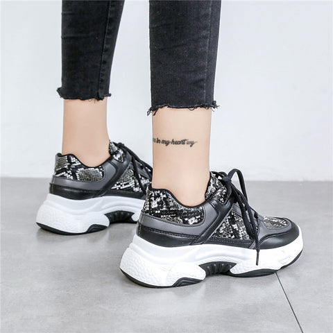 Leopard Breathable Mesh Silver Platform Knitting Casual Glitter Sequined Chunky Sneakers