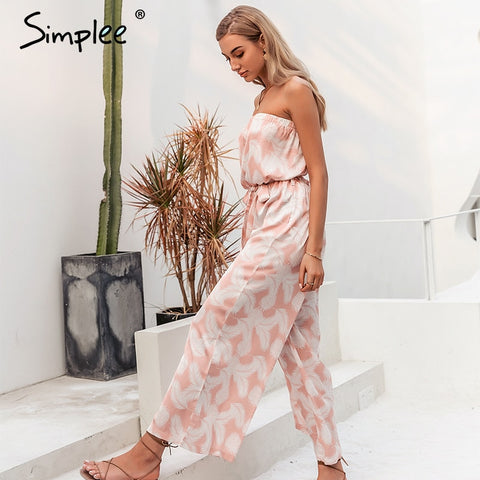 Strapless print Sashes lace up wide leg jumpsuits