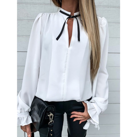 Puff Sleeve Elegant Stand Collar Shirts Long Sleeve Blouse