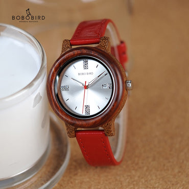 PU Strap Timepieces Wood Watches