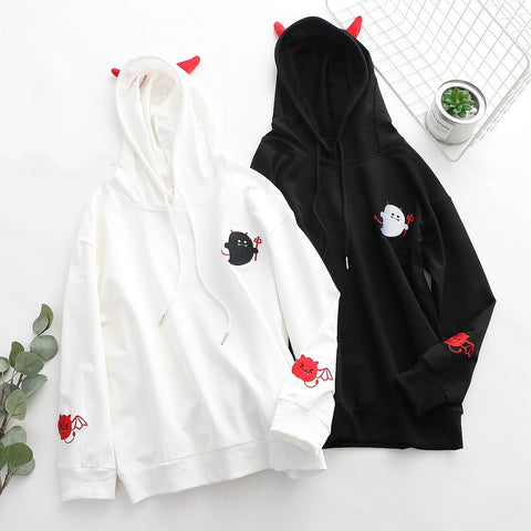 Demon Punk Gothic College Style Cute Little Devil Embroidery Hoodie