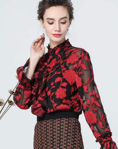 Embroidery Red Floral Stand Neck Long Flare Sleeve Blouse