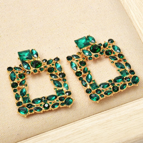 Colorful Crystals Square Metal Dangle Drop Earrings