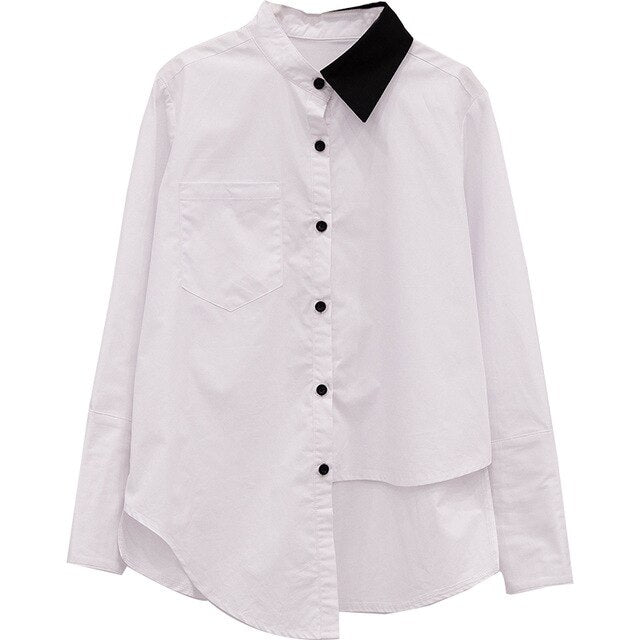 Lapel Long Sleeve Hit Color Irregular Hem Loose Brief Shirt Blouse
