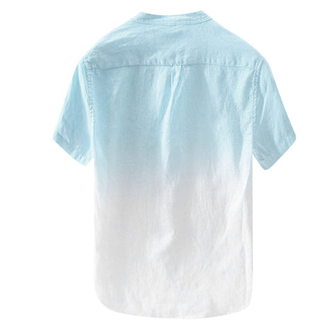 Cool And Thin Breathable Collar Hanging Dyed Gradient Cotton Short Sleeve Shirts
