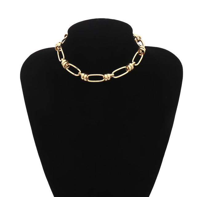 Lacteo Punk Golden Round Circle Chain Choker Necklace