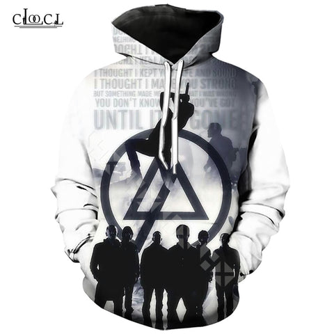 White Tracksuit Streetwear Loose Thin Rock Band Linkin Park Print Hoodie