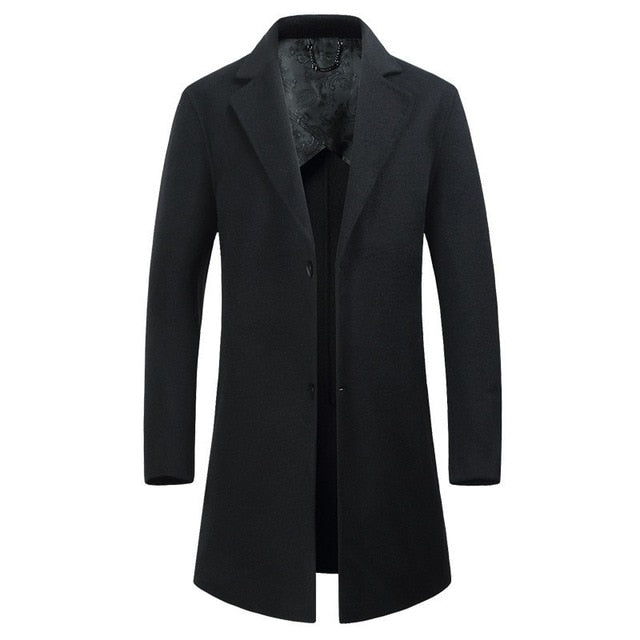 Woolen Middle Long Business solid color Thicken coat