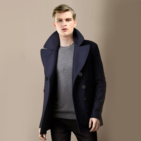 Wool Blending Double Breasted Solid Color Large lapel Woolen coat