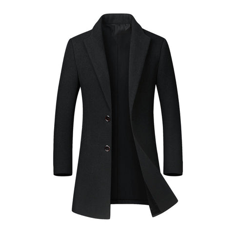 Woolen Long Outwear Button Casual coat