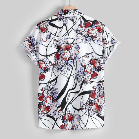 Casual Lapel Pattern Print Short Sleeve Shirt