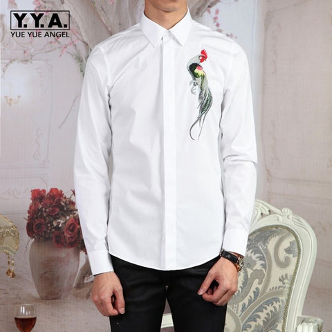 Cotton Long Sleeve Embroidery Dress Shirt