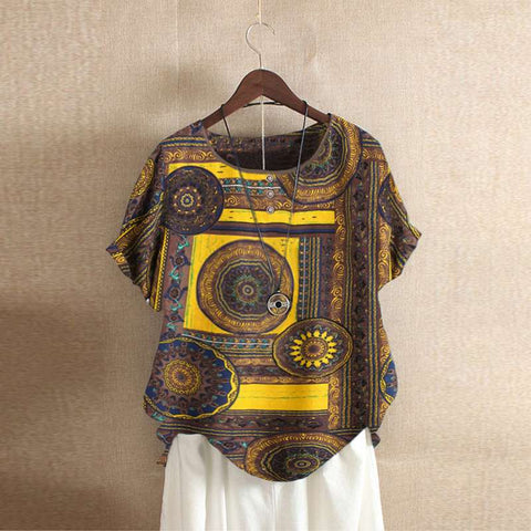 Casual Cotton Loose Vintage Short Sleeve Ethnic Print Bohemian Blouse Shirts