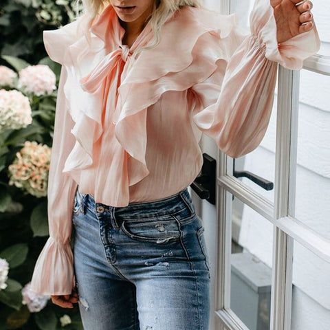 Solid Color Ruffle Stitching Long Sleeve Bohemian Blouse Shirts
