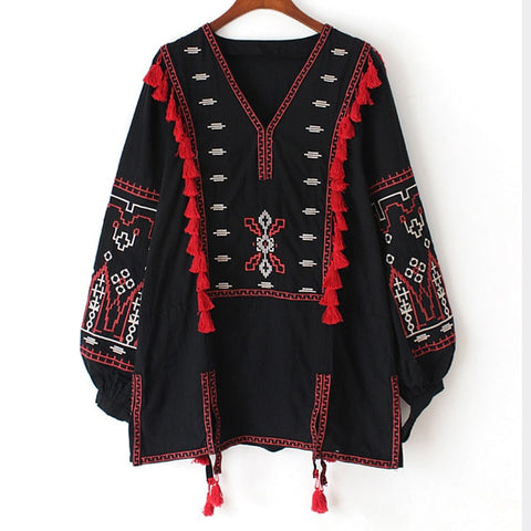Cotton Floral Embroidered Tunic Long Sleeve Bohemian Blouse Shirts