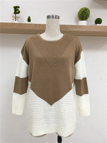 Style Patchwork Long Sleeve Slim Basic Knitting Boho Bohemian Sweaters