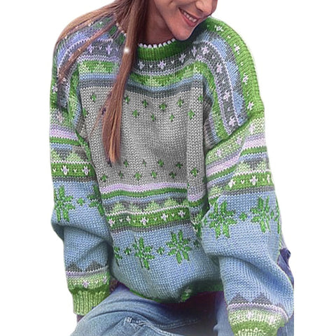 Vintage O neck Thick Casual Print Knitted Boho Bohemian Sweaters