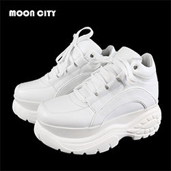 White Platform Leather Causal Chunky Sneakers