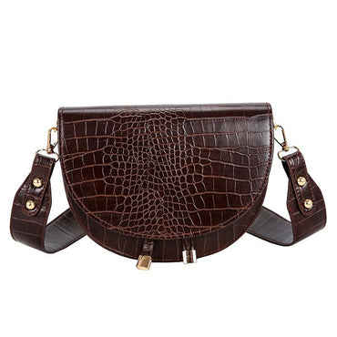 Pu Leather Crocodile Semicircle Luxury Handbags