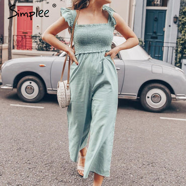 Elegant ruffle pleated Casual straps wide leg jumpsuits