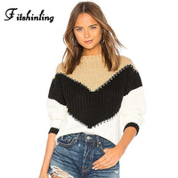 Patchwork Knitted Jumper Long Sleeve Slim Boho Bohemian Sweaters