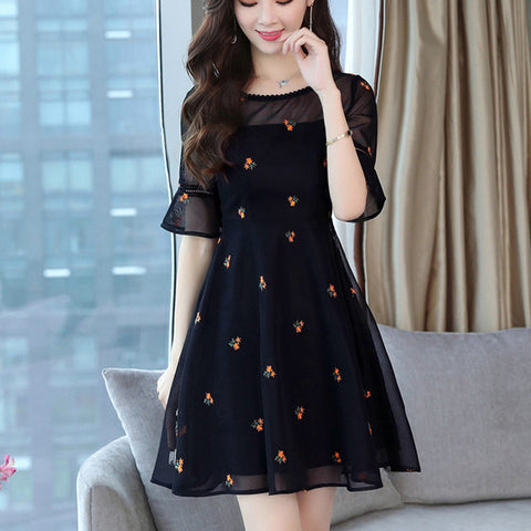 Lace Mesh Sexy Elegant Half Sleeve Floral Dresses