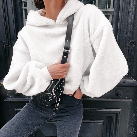 Loose Faux Fur Fluffy Short White Long Sleeve Hoodies