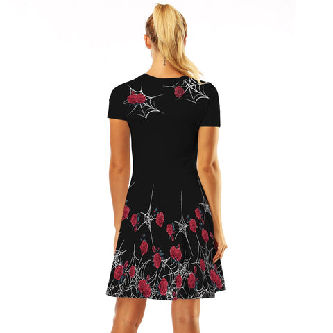 Floral 3D Casual Short Sleeve Robe Sexy Floral Dresses