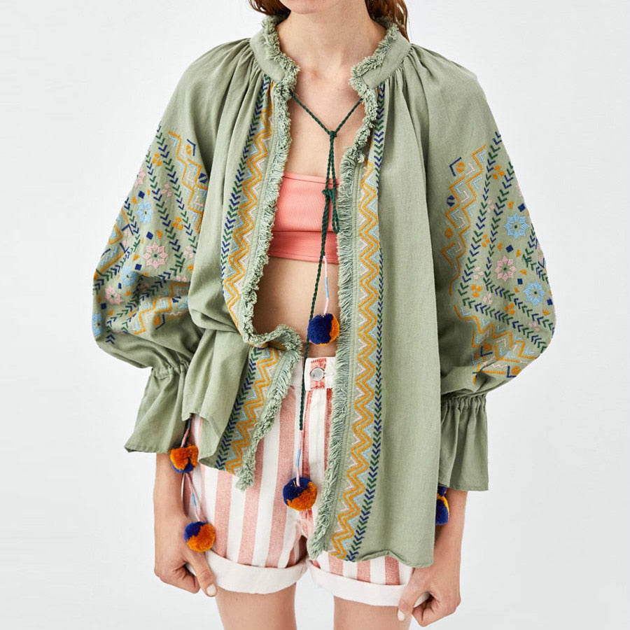 cotton green ethnic embroidery puff long sleeve Bohemian Jackets Coats