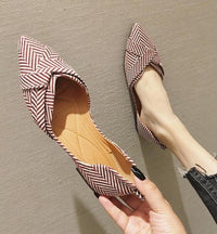 Striped Boat Shallow Pointed Toe Casual Flat shoes
