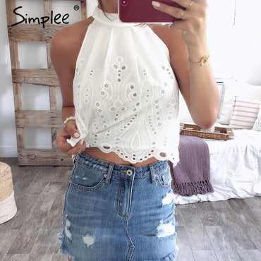 Elegant stand neck Casual white Sexy sleeveless Tank Top & Camis