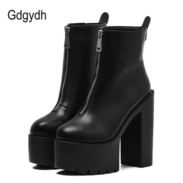 Ankle Boots Leather Black High Heels Ultra High Platform Boots