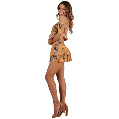 Off Shoulder Bow Sleeve Floral Print Boho Bohemian Rompers