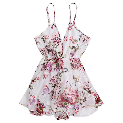 floral print chiffon elastic waist strap backless Boho Bohemian Rompers