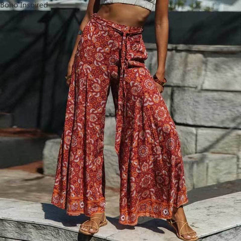 Inspired Retro red print high waist belt tied elastic Boho Bohemian Pants