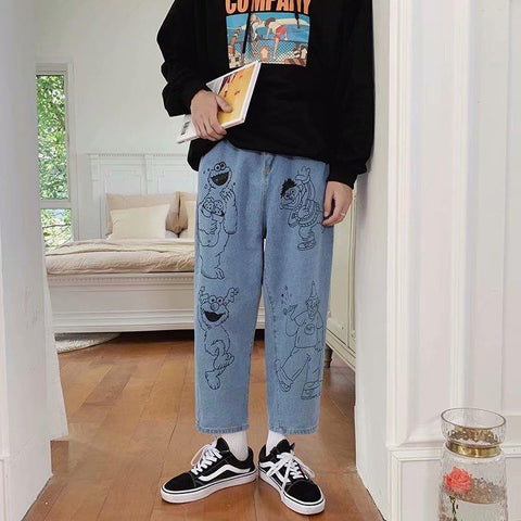 Cartoon printed jeans