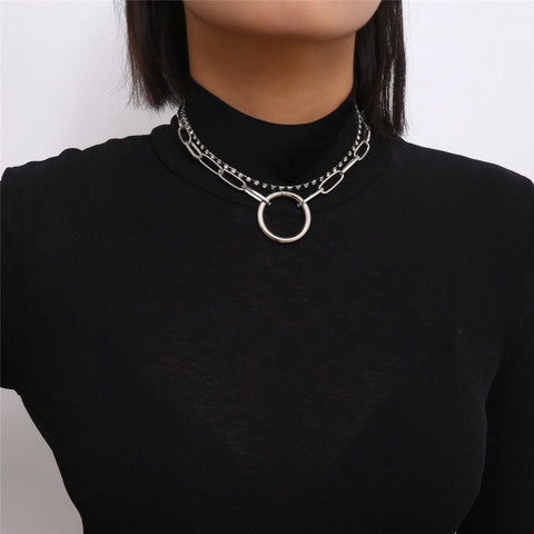 Gothic Crystal Multi Layer Circle Choker Necklace