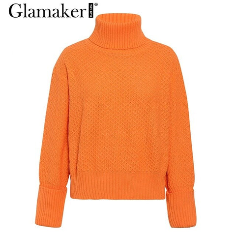Orange turtleneck knitted casual sweater