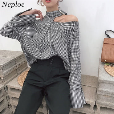 Plaid Vintage Halter Patchwork Long Sleeve Casual Loose  Blouses