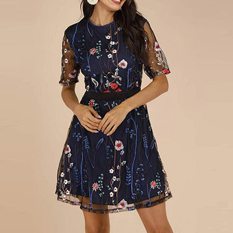 Elegant Embroidered Mesh Sleeve O Neck Floral Dresses