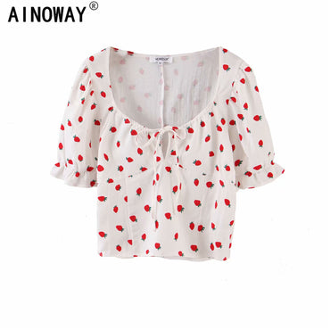 Vintage chic Strawberry print v-neck cotton Boho Bohemian Tops
