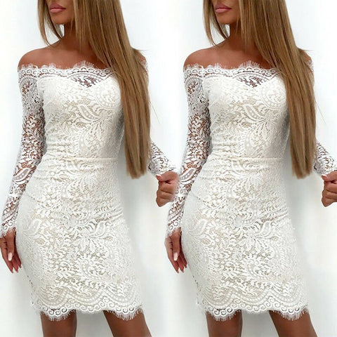 Elegant Long Sleeve Lace Floral Off Shoulder Bodycon Dresses