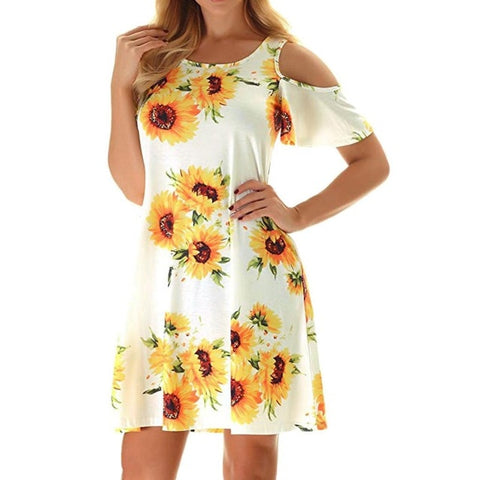 Off Shoulder Sunflower Print Yellow Elegant Robe Sexy Floral Dresses