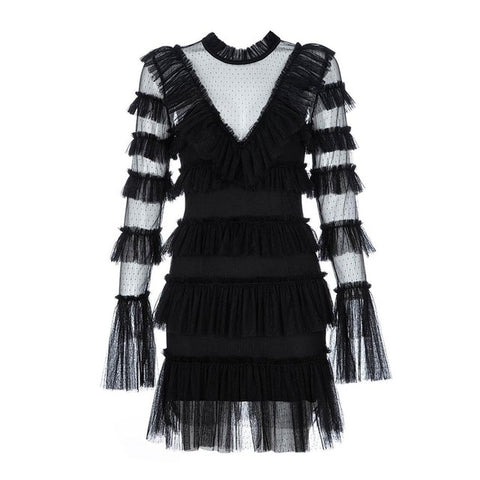 White Black Long Sleeve O Neck Lace Runway Sexy Mini Dress