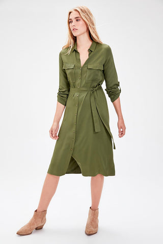 Haki Belted Shirt Dresses