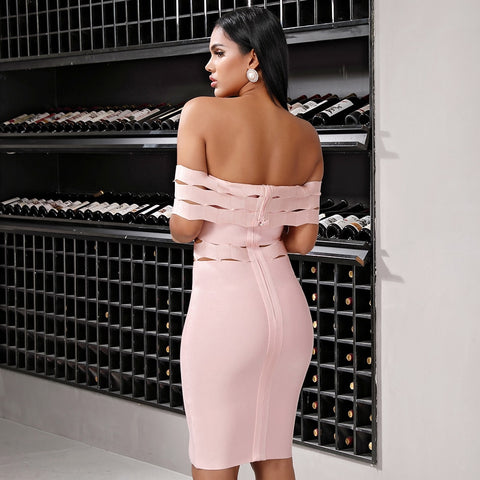 Lace Hollow Out Sleeveless Bandage Off Shoulder Dresses